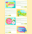sale set of web posters stickers daffodils tulips vector image vector image