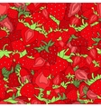 Seamless pattern Set red strawberries vector image vector image