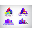 set abstract colorful city building vector image vector image