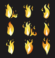 set animation fire and various cartoon flat vector image vector image