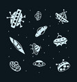 set of hand drawing ufo flying saucer vector image vector image