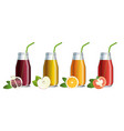 set of mock up of fruit juice in a glass jars vector image vector image