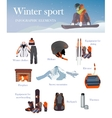 set of Ski and Snowboard equipment icons vector image