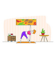 slim girl stand on mat in yoga asana or stretching vector image vector image
