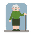 smiling old woman in old clothes with cane and vector image vector image