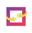 square hug logo design graphic abstract hands and vector image vector image