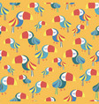 toucan bird blue red white yellow seamless pattern vector image vector image