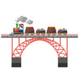 train loaded with goods on the bridge vector image
