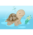 turtle in pond vector image vector image