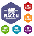 wagon icons hexahedron vector image vector image