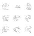 Wave icons set outline style vector image vector image