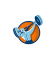 Weightlifter Swinging Barbell Back View Circle vector image vector image