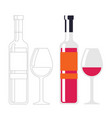 wine bottle on white background wine glass vector image