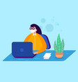 woman in medical masks sit in office vector image vector image