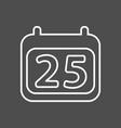 calendar icon simple calendar with date 25 vector image