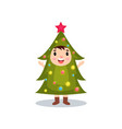 cute little kid in the costume of hristmas tree vector image