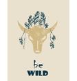 Native Indian-American tribal decorative bull vector image