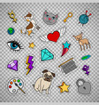 quirky fashion patches on transparent background vector image