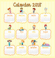 2018 calendar template with many children for vector image vector image