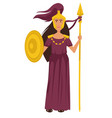 athena ancient greek goddess in gold armor vector image