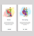 barber and hair styling man and woman service vector image vector image