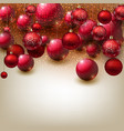 beautiful christmas background with red balls r vector image vector image