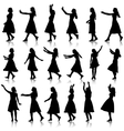 Black silhouettes of beautiful womans on white vector image