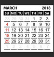 calendar sheet march 2018 vector image vector image