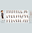 cartoon business girl character big set vector image vector image