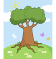 Cartoon Landscape With Tree And Butterfly vector image vector image