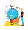 character man with shopping online icons vector image