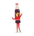 cheerful woman wearing soda drink bottle costume vector image vector image