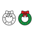 christmas wreath icon on white background vector image vector image
