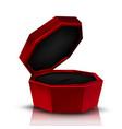 closeup empty red velvet opened jewelry box vector image vector image