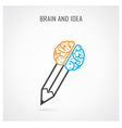 creative right and left brain and pencil symbol vector image