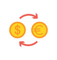currency exchange flat icon vector image