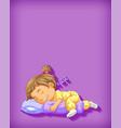 cute girl sleeping cartoon character isolated vector image vector image