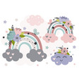 cute poster with beautiful rainbows vector image