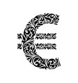 decorative elegance ornate euro sign vector image