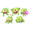 Different emotions of a green monster vector image vector image