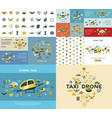 digital flying taxi drone icon set vector image