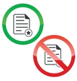 Favorite document permission signs set vector image vector image