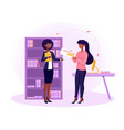 female librarian giving woman a library card vector image vector image