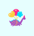 funny cartoon dinosaurs with balloons vector image vector image