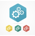 Gear icon set Flat design style vector image