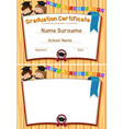 graduation certification template with happy vector image vector image