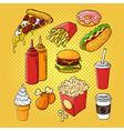 hand drawn pop art set of fast food vector image