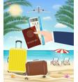 hand hold passport boarding pass travel to beach vector image