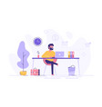 handsome man is working at his laptop vector image vector image