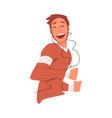 happy boy wearing earphones listening to music and vector image vector image